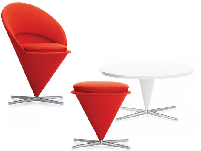 Cone Chair, Cone Table e Cone Stool by Vitra Design
